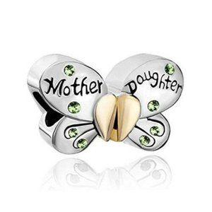 2pcs Mother Daughter Butterfly Charm